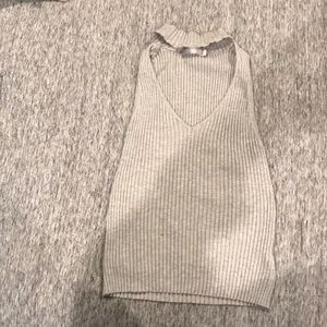 Grey cropped tank top